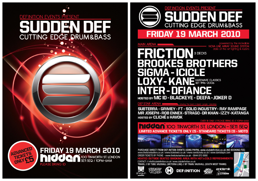 SUDDEN DEF @ HIDDEN | LONDON | FRIDAY 19TH MARCH | £5 ADVANCE ...